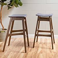 GDF Studio Kaylee <b>Dark Grey Fabric</b> Walnut Finish Bar <b>Stool</b> (Set of 2)