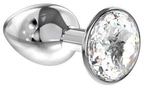 Купить малая серебристая <b>анальная пробка Diamond</b> Clear ...