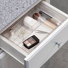 plastic makeup organizer put bathroom: amazoncom interdesign expandable cosmetic drawer organizer for vanity cabinet to hold makeup beauty products clear home amp kitchen