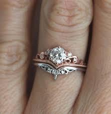 <b>14K Rose Gold</b> Crown Diamond Ring set Engagement <b>Anillos</b> ...