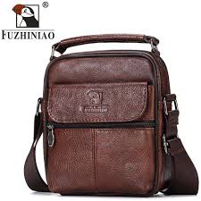 FUZHINIAO Small <b>Genuine Cowhide Leather Men's</b> Shoulder Bag ...