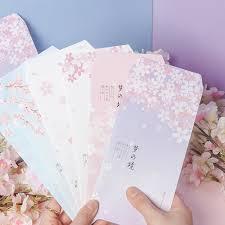 6pcs/set <b>Cherry Blossoms Pink</b> Sakura <b>Series</b> Paper Envelope ...
