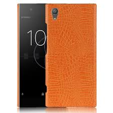 Sony Xperia XA1 Plus case phone bag Retro <b>Crocodile Skin PU</b> ...