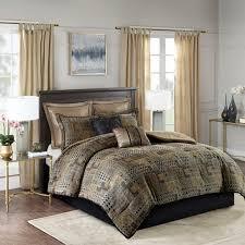 8pc Graydon Chenille Jacquard Comforter <b>Set Black</b>/<b>Gold</b> : Target