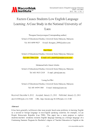 factors causes students low english language learning a case factors causes students low english language learning a case study in the national university of pdf available