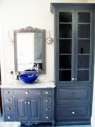 antique gray bathroom vanity with framed mirror and glass door cupboard in minimalist bathroom ideas beautiful home furniture ideas vintage vanity