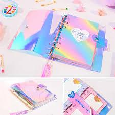 A6 Laser <b>Kawaii</b> Glitter Grid <b>Notebook</b> Refillable <b>Planner Notebook</b> ...