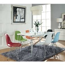 amazon kitchen chairs interior amazoncom lexmod plastic side chair in blue with wire base dining chai