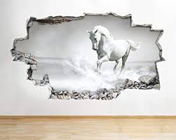 B042 Black White Horse Pony Girls Bedroom <b>Wall Decal Poster</b> 3D ...