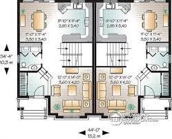 Multi family plan W detail from DrummondHousePlans com    st level Semi detached  storey  bedrooms on per unit   walk
