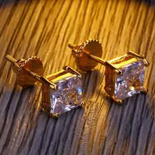 Hip Hop Claw Setting Cubic <b>Zirconia</b> Bling Ice Out Stud Earring ...