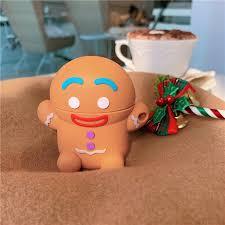 3D Cute Cartoon wireless Earphone <b>Case Christmas</b> Gingerbread ...