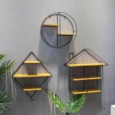Black Round Square <b>Wall Shelf</b> Rack Iron Partition <b>Solid Wooden</b> ...