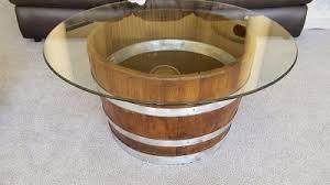 willamette barrel coffee table decorative half wine barrel table with glasstop arched napa valley wine barrel table