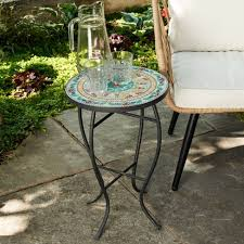 Outdoor <b>Mosaic</b> Accent <b>Side Table</b> - <b>Blue</b> - Haven Way : Target