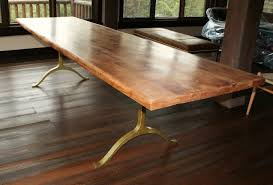 thick solid wood dining table iron legs