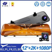 E ACE A38 <b>2K</b> Car DVR <b>12 Inch</b> Touch IPS RearView Mirror Dual ...