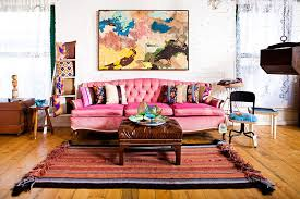 view in gallery colorful couch in pink and lovely wall art for the shabby chic living space design chic living room leather