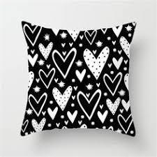 <b>Fuwatacchi</b> White and Black Stripe Wove Dot Wave Love Pillow ...