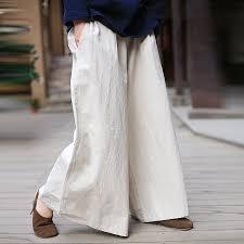 ORIGOODS <b>Cotton Linen</b> Wide leg <b>Pants</b> Women Elastic Waist ...