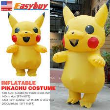 Unisex Mascot Pikachu Inflatable <b>Costume Cosplay</b> Halloween ...