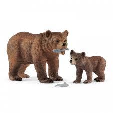 Schleich <b>Игровые фигурки</b> Самка медведя гризли <b>с</b> детенышем ...