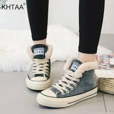 2019 Autumn Winter <b>Women Vulcanize Shoes</b> Warm Plush Lace Up ...