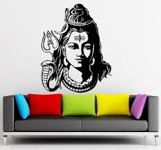 sun wall decal trendy designs: god shiva india hindu religion wall sticker home decor wall decals vinyl wallpaper mural size xcm