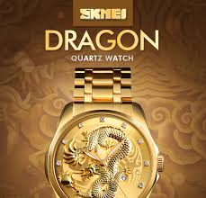 SKMEI <b>Luxury Golden</b> Dragon Quartz Watch <b>Men's</b> Watches ...