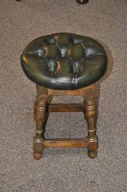 item k1844 classic oak stool w button down leather seat c1920 art deco furniture san francisco