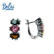 <b>natural</b> multicolor <b>tourmaline</b> oval 5*7mm gemstone clasp earring ...