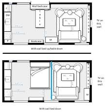 the blue line in the bottom image represents a curtain on a ceiling track that could be drawn for privacy best furniture for studio apartment
