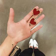 Vintage Bohemian Red <b>Heart shaped Earrings</b> For Women Gold ...