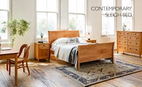 contemporary sleigh bed with dunning nightstand and dresser made with sustainably harvested cherry chair wooden furniture beds