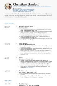 executive resume samples   visualcv resume samples databaseexecutive producer  audio resume samples