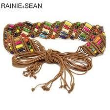 <b>RAINIE SEAN</b> Womens Braided <b>Belt</b> Ethnic Colourful Wooden Bead ...