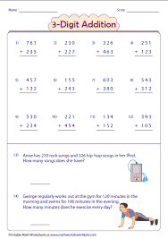 3 Digit Addition Worksheets2-digit and single-digit: Lattice Multiplication. No Regrouping: