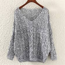 Batwing <b>Sleeve V Neck</b> Knitted <b>Pullover</b> Women Hollow Sweater ...