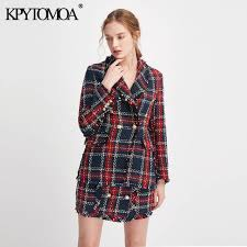 Online Shop Vintage <b>Double</b> Breasted Frayed Checked Tweed ...