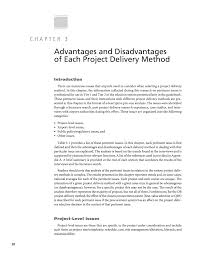 chapter advantages and disadvantages of each project delivery page 20
