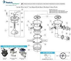pentair 2 multiport valve parts pacfab pentair tm22 sm20 261185 tm 22 sm 20 pentair pacfab top mount side mount 2 multiport valve parts