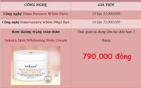 Giá sản phẩm kem tắm trắng Sakura