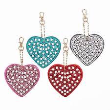 <b>DIY</b> Heart Shaped <b>Diamond</b> Painting Key Chain Sets, <b>4pcs 5D</b> Full ...