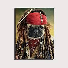 E-HOME Stretched Canvas Art <b>Cute Animal</b> Series - Pirate Dog ...