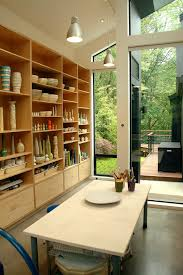 arts and crafts built ins home office contemporary with sloped ceiling built in shelves sloped ceiling arts crafts home office