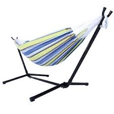 portable outdoor polyester hammock set with stand handbag for camping travel beach and indoor use