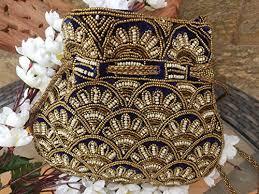 Amazon.com: Blue <b>Gold</b> velvet potli bag - Artcraving: <b>Handmade</b>
