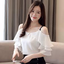 <b>2019 new</b> fashion Korean Women White <b>Elegant</b> Ruffle Off <b>Shoulder</b> ...