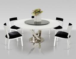 Modern Round Dining Room Tables Modern A X Spiral Modern Round White Dining Table With Lazy Susan