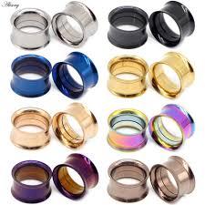 2pcs White <b>Black</b> Transparent <b>Acrylic Ear</b> Tunnel Plug <b>Ear</b> Gauges ...